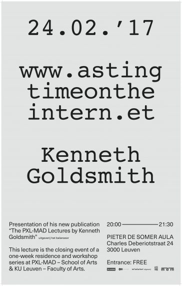 The PXL-MAD Lectures by Kenneth Goldsmith